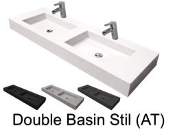 Double washbasin suspended or built-in, 50 x temp, in resin - Still double basin AT