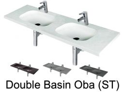 Double washbasin, 50 x 120, in resin - Oba double basin ST
