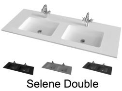 Double Washbasin top 121 x 46 cm, suspended or recessed, in mineral resin, made on gauge - Selene