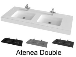 Double Washbasin top 200 x 46 cm, suspended or recessed, in mineral resin, made on gauge - Atenea