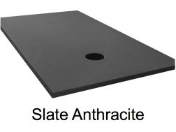 Shower tray 155 cm, resin, extra flat, large format, slate effect, anthracite color