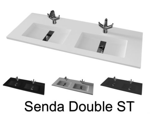 Washbasin top 46 x 180 cm, suspended or recessed, in mineral resin, made on gauge - Senda SF