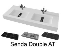 Washbasin top 46 x 200 cm, suspended or recessed, in mineral resin, made on gauge - Senda (CF)