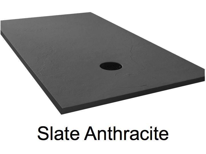Beautiful Shower Tray 170 Cm, Resin, Extra Flat, Large Format, Slate Effect,