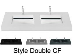 Washbasin top 46 x 140 cm, suspended or recessed, in mineral resin, made on gauge - Style CF