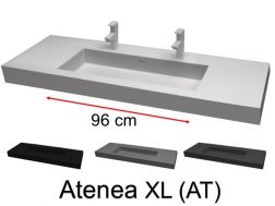 Double Washbasin top 180 x 46 cm, suspended or recessed, in mineral resin, made on gauge - Atenea XL