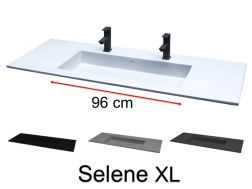 Double Washbasin top 201 x 46 cm, suspended or recessed, in mineral resin, made on gauge - Selene XL