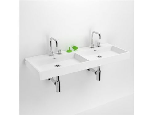 Double washbasin, 110 x 42 cm, in white mineral marble - CLOU WASHME