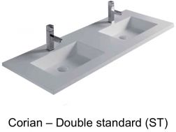 121 x 46 cm Corian Solid Surface Corian Double Bathroom Vanity Top - Hydra