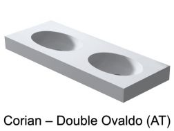 Double oval basin vanity top 120 x 46 cm SolidSurface type Corian - Ovaldo AT