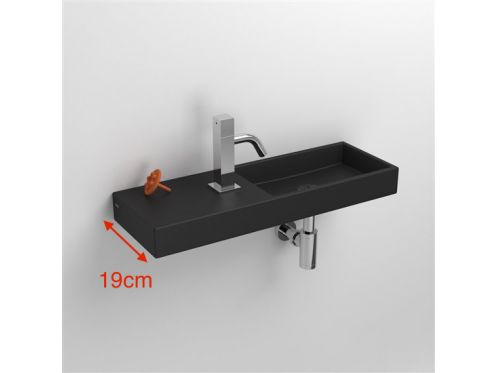 Hands washbasin, 19 x 56 cm, matt anthracite ceramic, beach on the right, wall tap - MiniWashMe CLOU