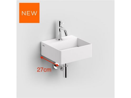 Hand basin, 27 x 28 cm, in white aluite, without drilling taps - CLOU NEW FLUSH