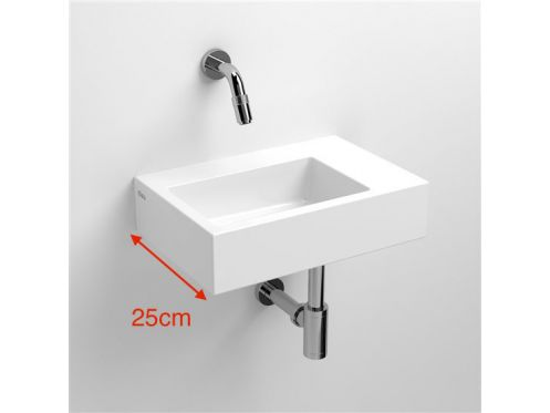 Hand basin, 25 x 36 cm, white ceramic, without tap hole - CLOU FLUSH 2