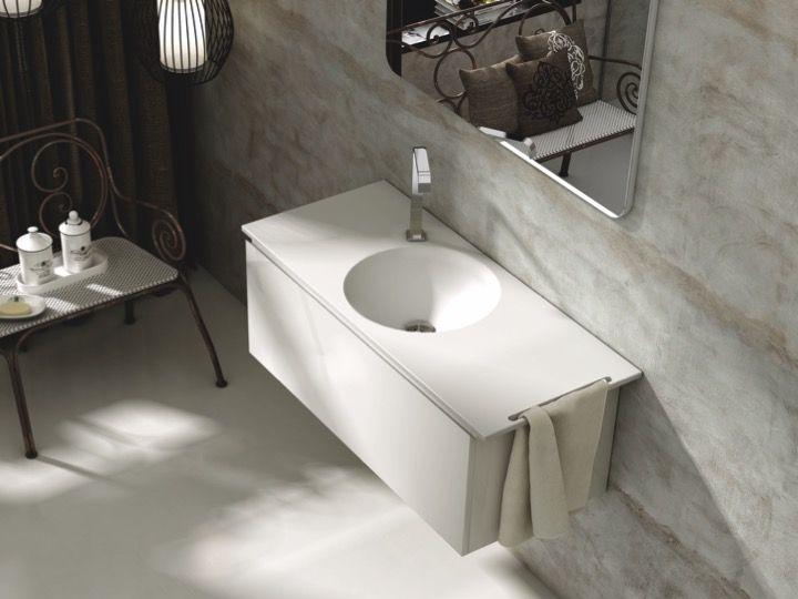 washbasin Corian (Type) - Double round washbasin top 100 x 46 cm ...