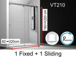 Shower door, 190x195 cm, fixed with sliding, made-to-measure - VT210