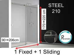 Shower door, 140x195 cm, fixed with sliding, made-to-measure - Steel 210