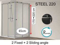Corner shower cabin, 65 x 65 x 195 cm, two fixed with two sliding, custom - Steel 220