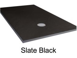 Shower tray 155 cm, resin, extra flat, large format, slate effect, black color