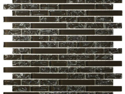 CRA001 crackle glass brown, Mosaic glass tile 29,8X30,5 cm. Acqualine