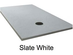Shower tray 175 cm, resin, extra flat, large format, slate effect, white color