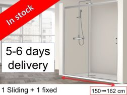 Sliding shower door with a fixed - 155 x 195 cm - SUM 310