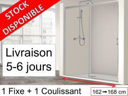 Sliding shower door with a fixed - 165 x 195 cm - SUM 310