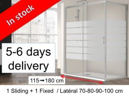 Shower cabin, 155 x 195 cm, fixed with sliding and one side 70-80-90-100 cm - SUM 310