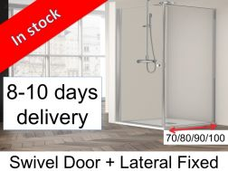 Swing shower cabin with fixed side - 80 x 70-80-90-100 x 195 cm - HADA