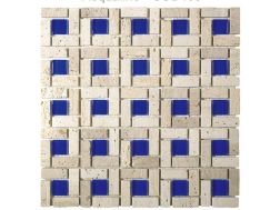 CUB403, Mosaic stone and blue glass center, Acqualine.