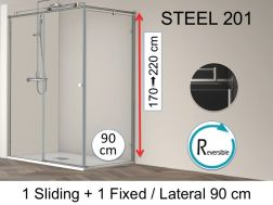 Shower cabin, 190 x 90 x 195 cm, fixed with sliding and one side 90 cm - Steel 201