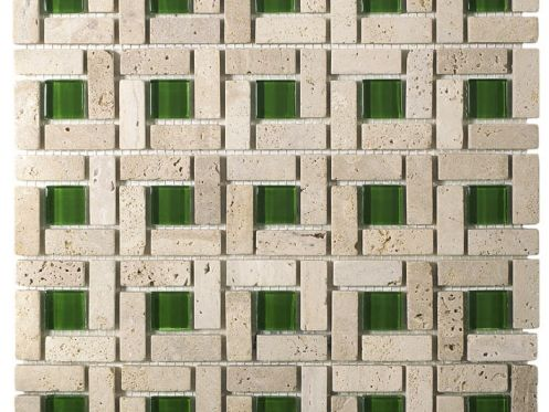 CUB401, Mosaic stone and green glass center, Acqualine.