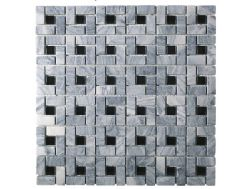 CUB302, Mosaic stone __plus__ gray glass and black center, Acqualine.