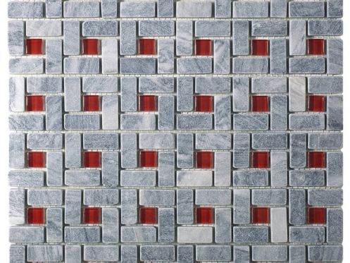 CUB300, Mosaic stone __plus__ gray and red glass center Acqualine.