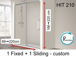 Open shower enclosure, 155 x 195 cm, fixed glass with sliding door - HIT210