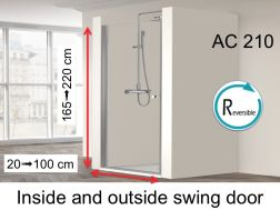 Swing shower door 30 x 195 cm, swivel inside and outside - AC210