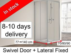 Corner shower cabin, 80 x 80 x 195 cm, two sliding panels and two fixed panels - SUM 320