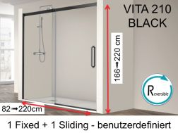 Niche shower door, 155 x 195 cm, fixed glass with sliding door, with black profile - VITA 210 Black