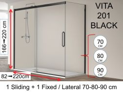 Corner shower cabin, 140 x 195 cm, fixed glass with sliding door and one fixed side, with black profile - VITA 201 Black