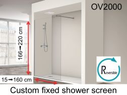 Fixed shower screen 35 x 195 cm, custom made, reversible - OV2000