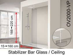 Fixed shower screen 30 x 195 cm, stabilizer bar glass / ceiling - OV2000 (VP)