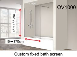 Fixed bathtub screen 30 x 150 cm to measure - OV1000