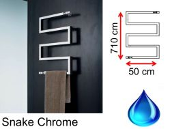 Designer towel dryer, hot water, contemporary - Snake Chrome SCIROCCO