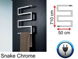 Designer towel dryer, electric, contemporary - Snake Chrome SIROCCO