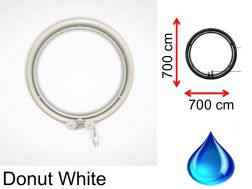 Designer towel dryer, hot water, contemporary - White Donut SIROCCO