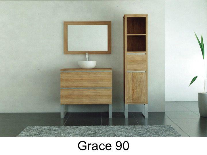 Bathroom cabinet in teak, 90 cm - GRACE 90