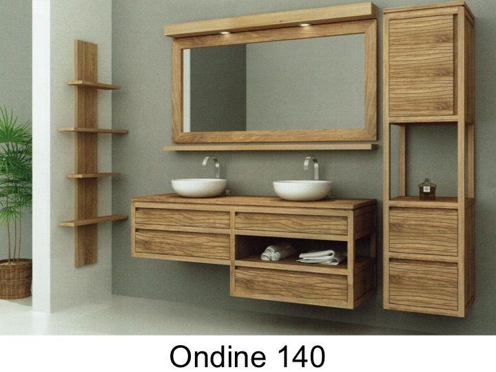 Bathroom cabinet in teak, 140 cm double washbasins - WAVE 140