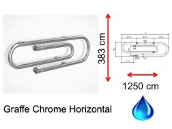 Designer towel dryer, hot water, contemporary - Grappe Chrome Horizontal SIROCCO