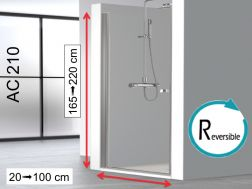 Swing shower door 70 x 195 cm, swivel inside and outside - AC210