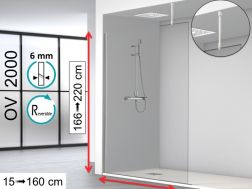 Fixed shower screen 100 x 195 cm, stabilizer bar glass / ceiling - OV2000 (VP)