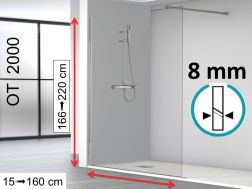 Shower screen, 120 x 195 cm, 1 fixed glass panel 8 mm - OT2000.